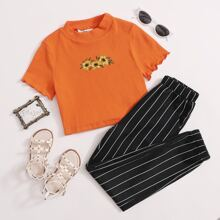Girls Sunflower Embroidery Rib-knit Top & Striped Pants Set