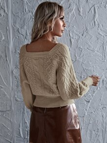 Solid Bishop Sleeve Cable Knit Sweater
