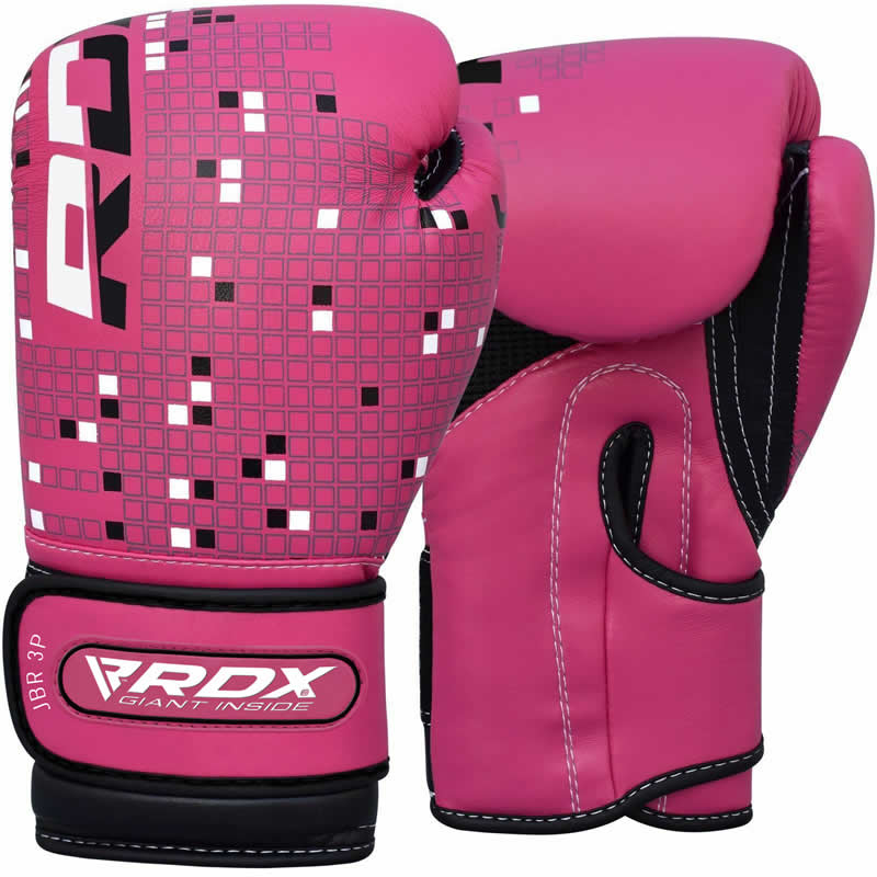 RDX 3B Kids Pink / Black 6oz Boxing Training Gloves for Junior Young Girls Punching Kickboxing Muay Thai