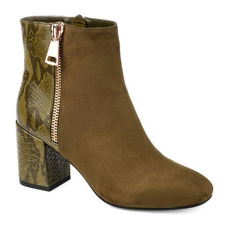 Journee Collection Womens Sarah Block Heel Booties, 10 Medium, Green