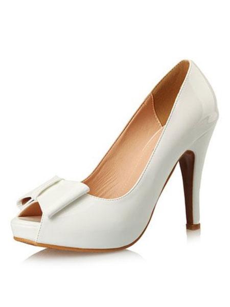Milanoo Peep Toe Pumps Women's Bow Decor Slip On Stiletto Platform High Heel Shoes