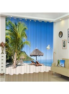 Green Palm Trees and White Beach Wonderful Beach Scenery Bed Room 3D Curtain