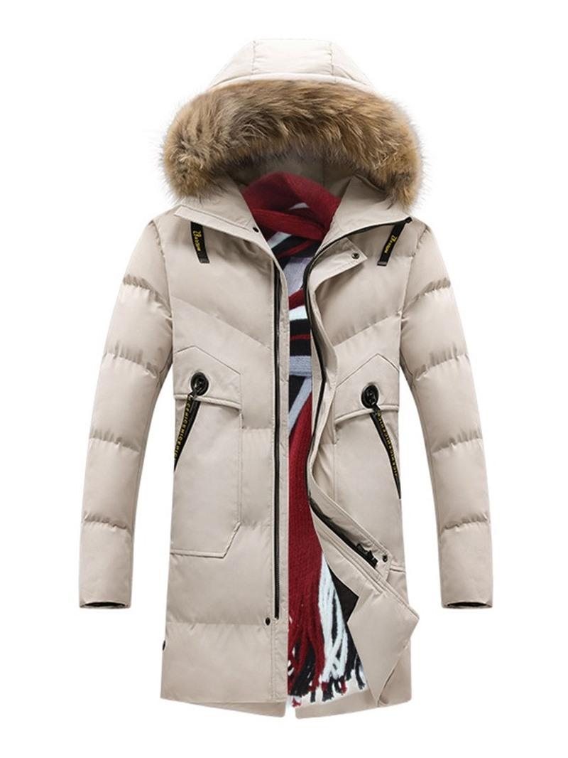 Ericdress Patchwork Mid-Length Hooded Zipper European Men's Down Jacket