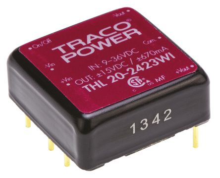 TRACOPOWER THL 20WI 20W Isolated DC-DC Converter Through Hole, Voltage in 9 → 36 V dc, Voltage out ±15V dc