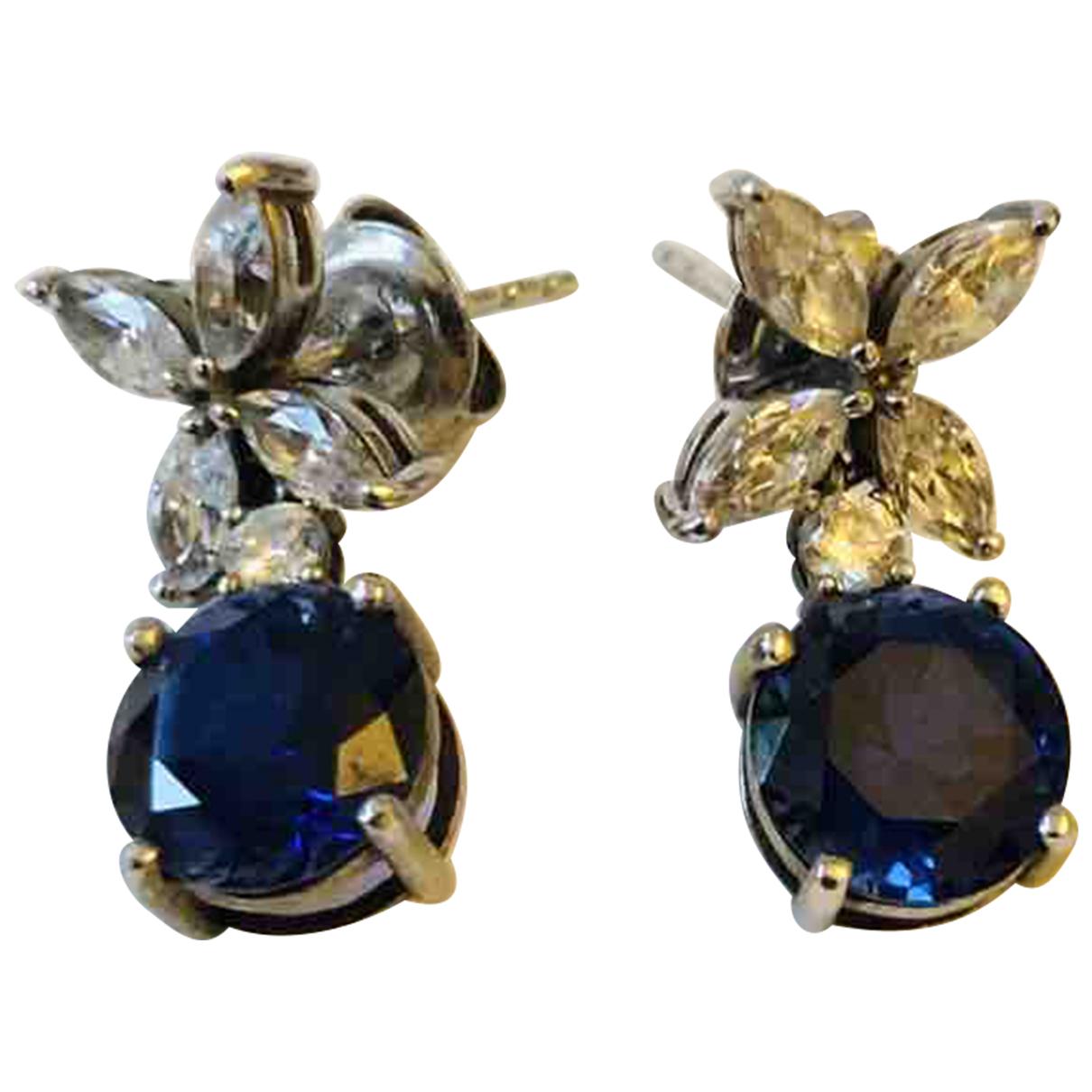 Swarovski \N OhrRing in  Blau Kristall