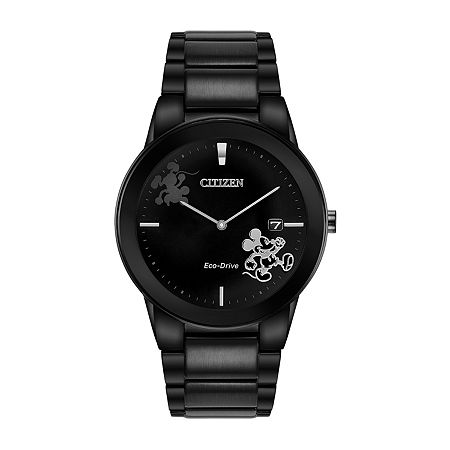 Citizen Disney Mickey Mouse Mens Black Stainless Steel Bracelet Watch-Au1068-50w, One Size , No Color Family