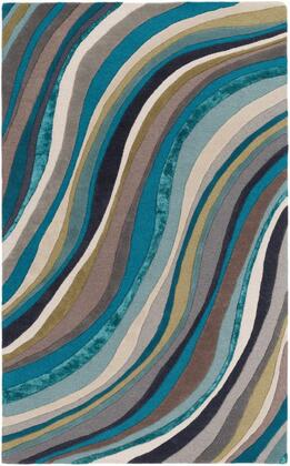 LGE2293-913 9' x 13' Rug  in Teal and Aqua and Taupe and Cream and Dark Brown and
