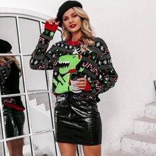 Drop Shoulder Dinosaur Ugly Christmas Sweater