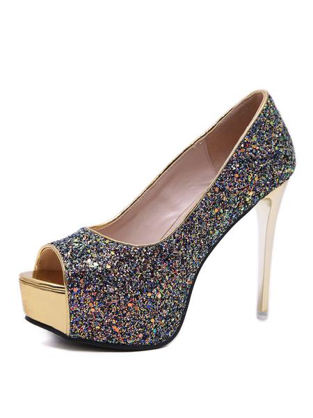 Milanoo Bombas de noche para mujer Zapatos de fiesta con lentejuelas brillantes y plataforma de tacon alto con purpurina