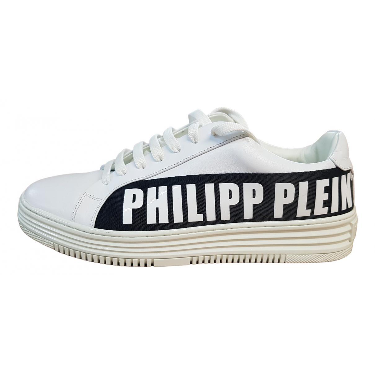 Philipp Plein Lo-Top White Leather Trainers for Men 40 EU