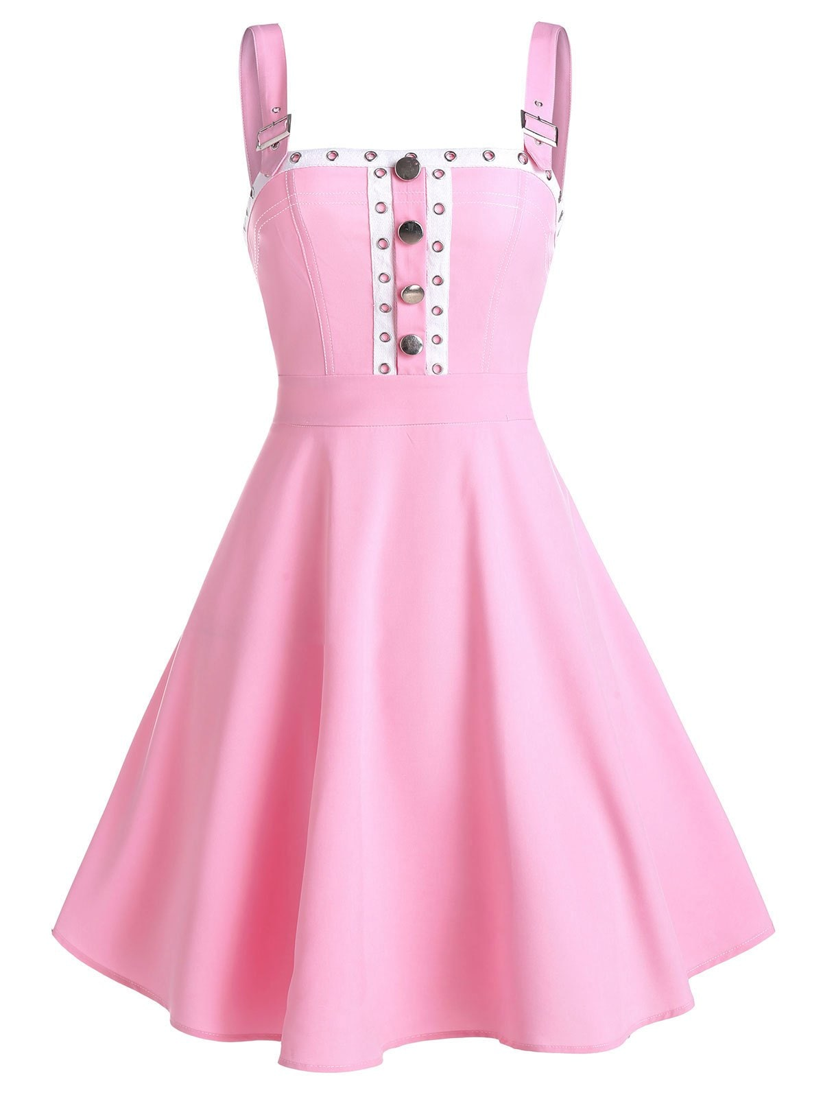 Buckle Strap Grommet Tape Mock Button Dress