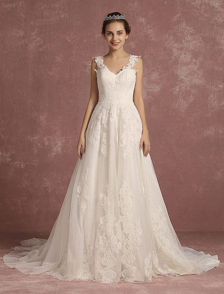Milanoo Lace Wedding Dress Illusion A Line Bridal Gown V Neck Sleeveless Chapel Train Bridal Dress