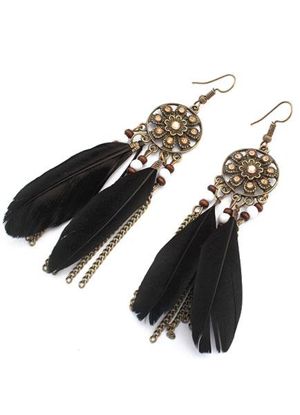 Milanoo Feather Chains Ethnic Dangle Earrings