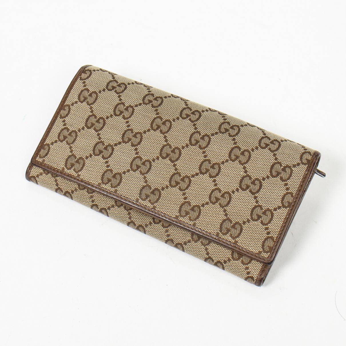 Gucci - Portefeuille   pour femme en coton - marron