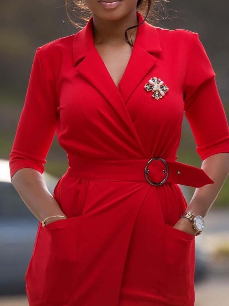Ericdress Bodycon Pocket OL Split Notched Lapel Belt Plain Dress
