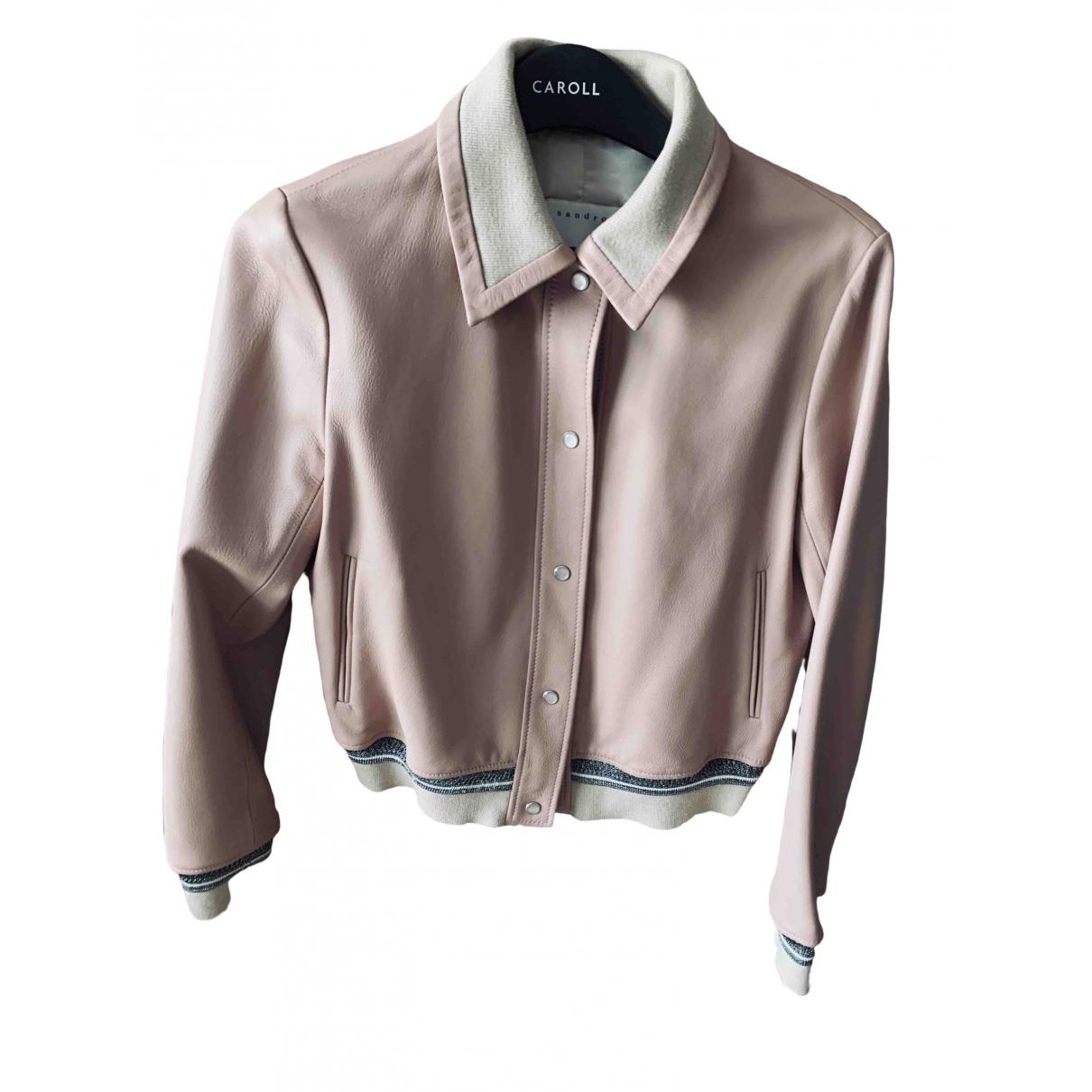 Sandro - Blouson   pour femme en cuir - rose
