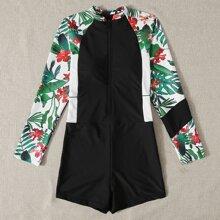 Einteiliger Badeanzug mit Blumen & tropischem Muster und Reissverschluss