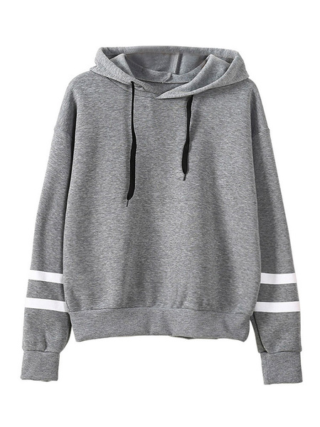 Milanoo Women Black Sweatshirt Long Sleeve Striped Drawstring Cotton Hooded Pullover Top