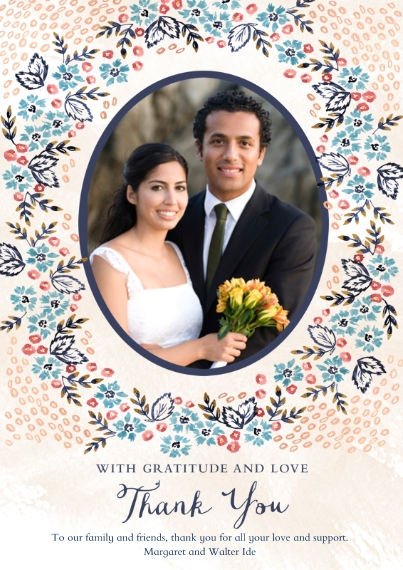 Wedding Thank You 5x7 Cards, Premium Cardstock 120lb, Card & Stationery -Nosegay