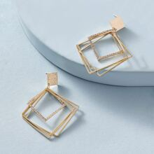 Pendientes geometrico a capas grabada con diamante de imitacion 1 par