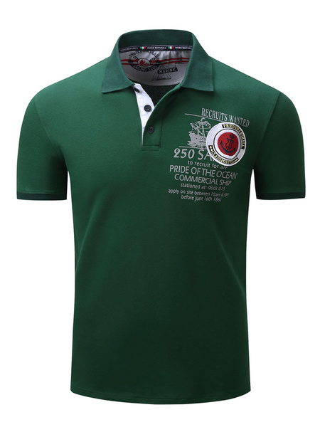 Milanoo Men\s Regular Fit Pique Polo With Words Printed And Tipped Collar
