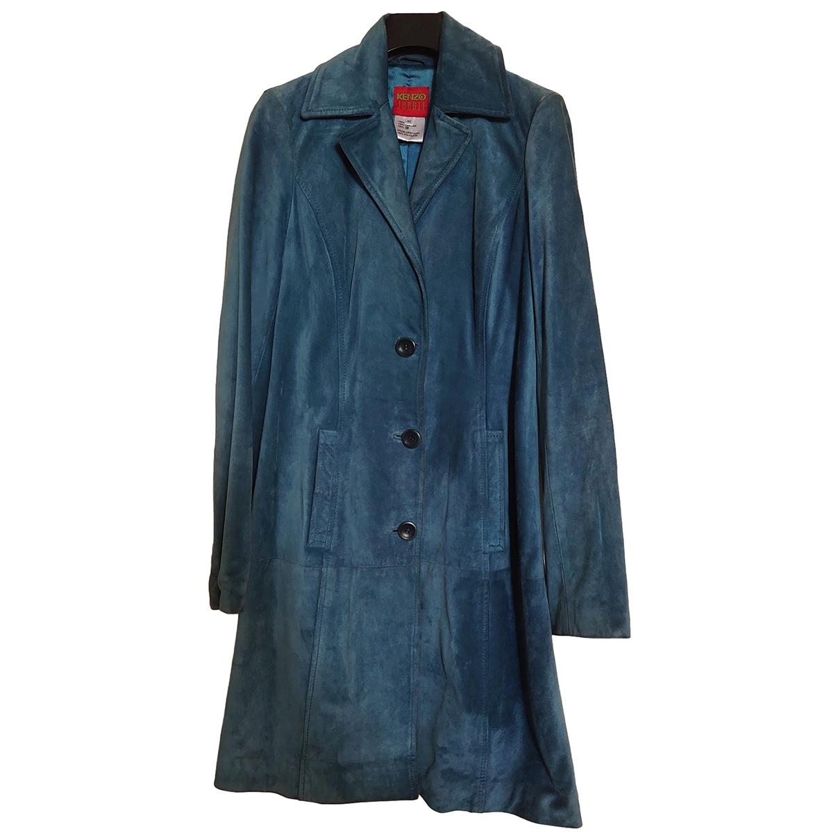 Kenzo - Manteau   pour femme en suede - bleu