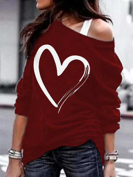 Yoins Burgundy Heart Print Cold Shoulder Long Sleeves Tee