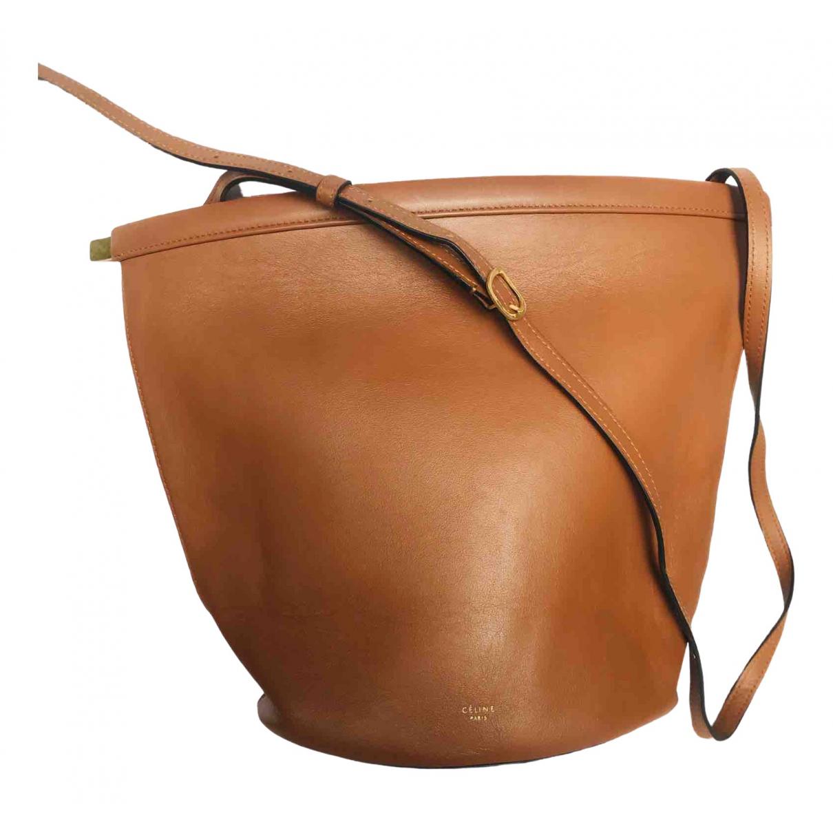 Celine - Sac a main Clasp Bucket pour femme en cuir - marron
