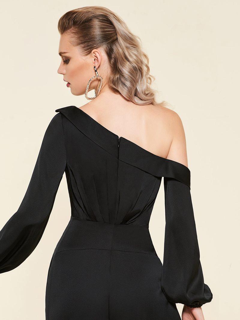 Ericdress One Shoulder Long Sleeves Black Loose Jumpsuit