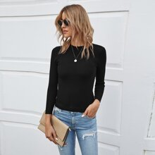 Ribbed Knit Slim Fit Solid Sweater