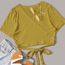 Einfarbiges Strick T-Shirt mit Band vorn