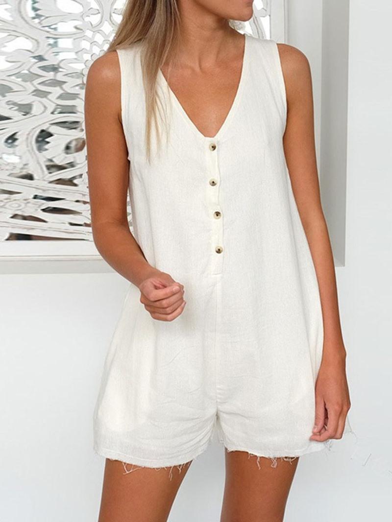 Ericdress Plain Casual Button Mid Waist Straight Jumpsuit