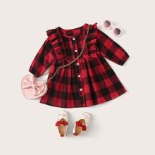 Baby Maedchen Kleid mit Rueschenbesatz, Knopfen vorn und Karo Muster ohne Tasche