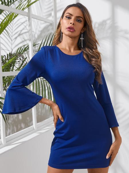 Yoins Blue Bell sleeves Crew neck Mini Dress