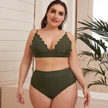Set de bikini de cintura alta top ribete en abanico - grande