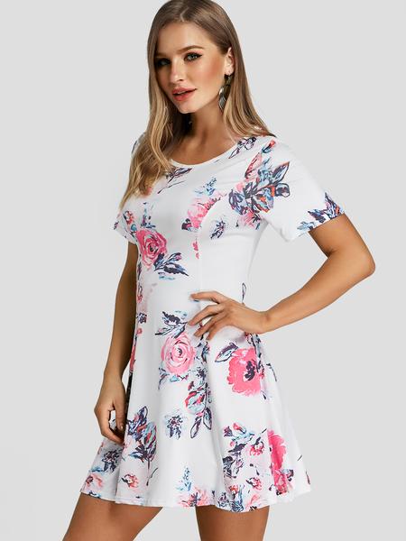 Yoins White Floral Print Round Neck Short Sleeves Dress