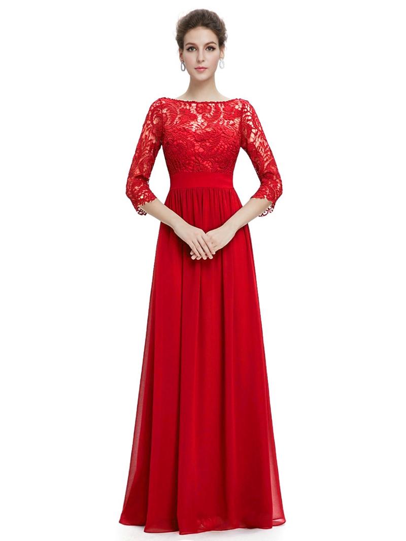 Ericdress Vintage Bateau Neck 3/4 Length Sleeves Lace Evening Dress