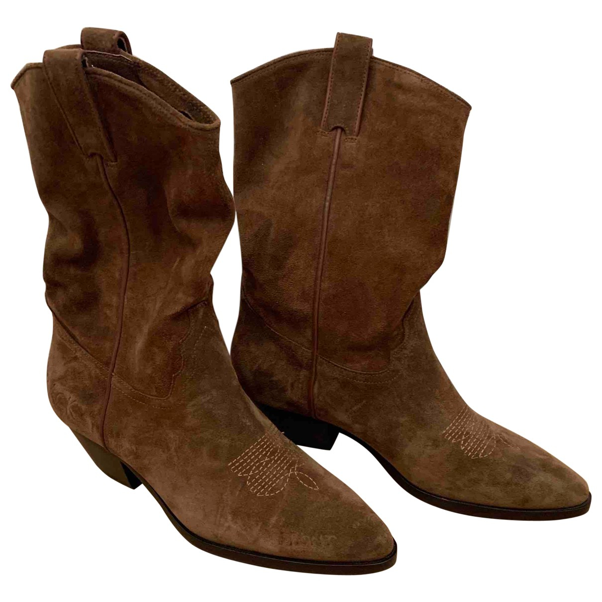 Ash \N Brown Leather Boots for Women 40 EU