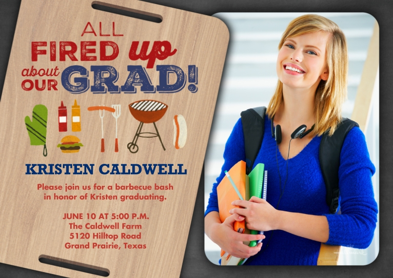 Graduation Invitations 5x7 Cards, Premium Cardstock 120lb with Elegant Corners, Card & Stationery -Fired Up About Our Grad