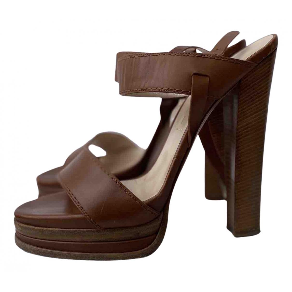 Casadei - Sandales   pour femme en cuir - camel