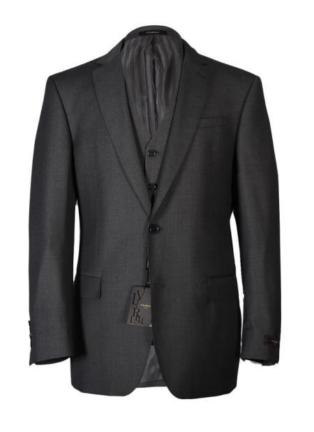 Vitarelli Men's Notch Lapel Gray 2 Button Vested Fashion Fit Cut Suit