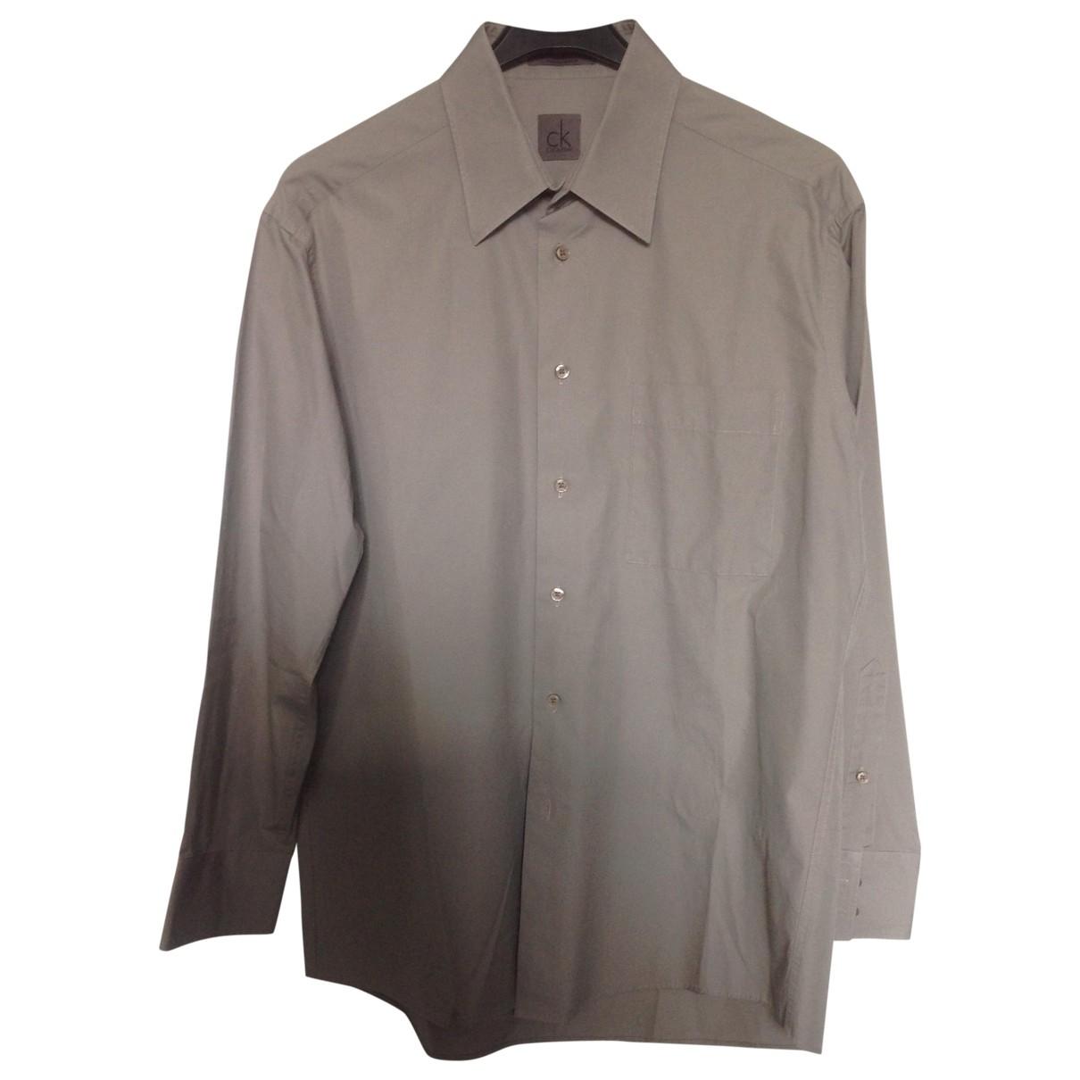 Calvin Klein \N Beige Cotton Shirts for Men 42 EU (tour de cou / collar)