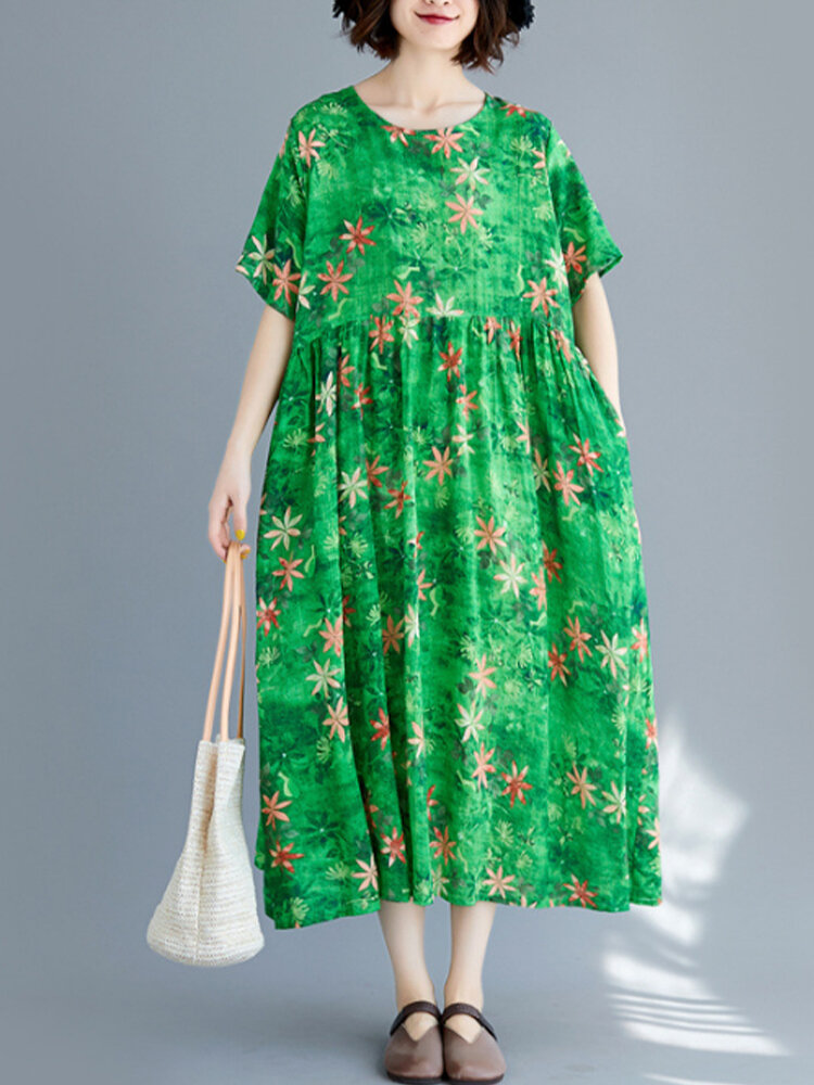Flowers Print Loose Casual Dress for Women