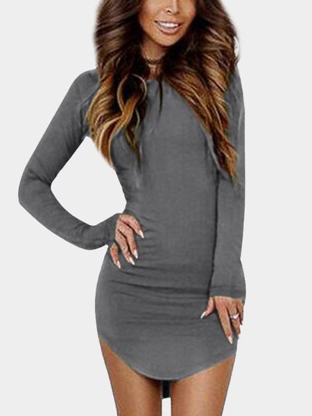 Yoins Round Neck Curved Hem Bodycon Fit Dress in Dark Grey