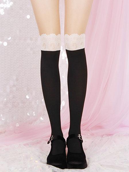Milanoo Lolita negra Medias de encaje Hasta la rodilla Calcetines altos de terciopelo Lolita Accesorios