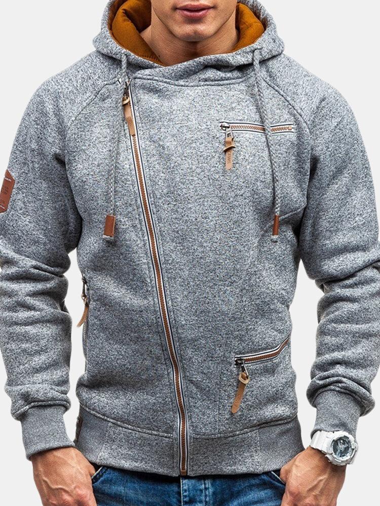 Mens Casual Zipper Up Design Sweatshirts Drawstring Hooded Cotton Hoodies for Men