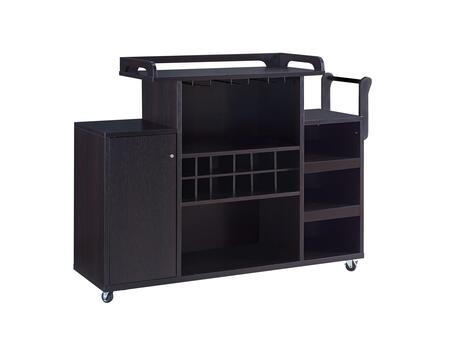 BM214715 Casters Supported Wooden Buffet Cart with Wine Rack and 1 Door Cabinet