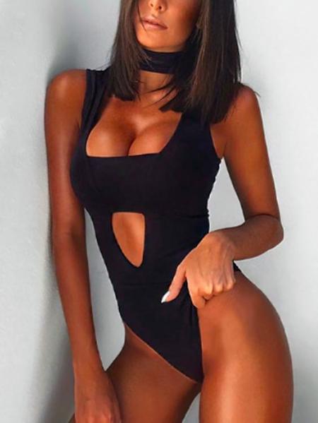 Yoins Black Cut Out Sleeveless Choker Bodysuit