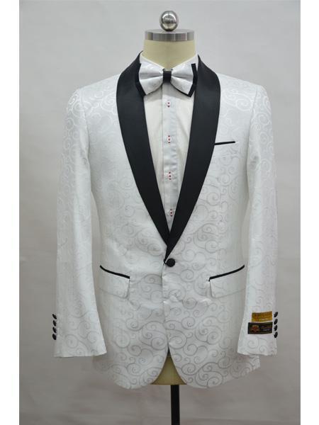 Cheap Mens Printed Flower Jacket Prom modern Tux White ~ Black