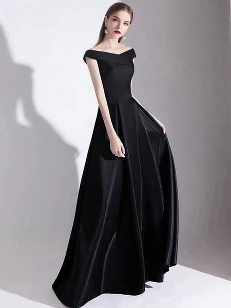 Milanoo Evening Dress A Line Bateau Neck Satin Fabric Floor Length Formal Party Dresses